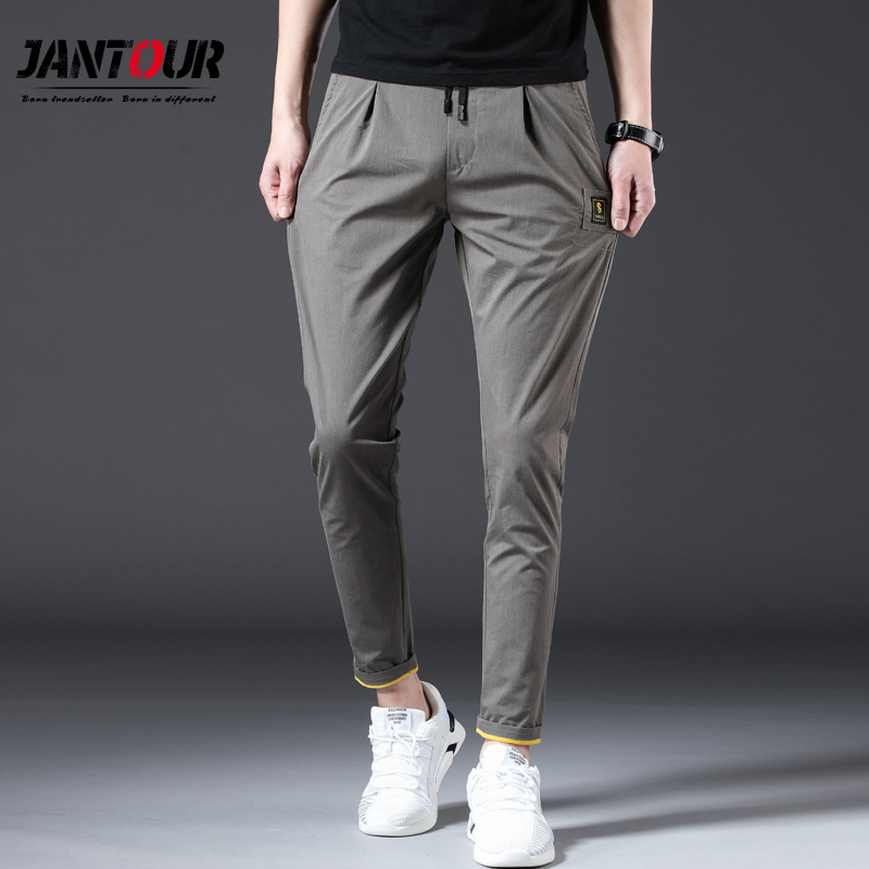 Spring and Summer Trousers Solid Color Sports Slim Casual Pants Light Loose Feet Mens Trousers,Black,34