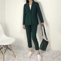 2018 High quality one button Spring and summer women's new Slim minimalist suit +9 small green pants feet pants two piece suit