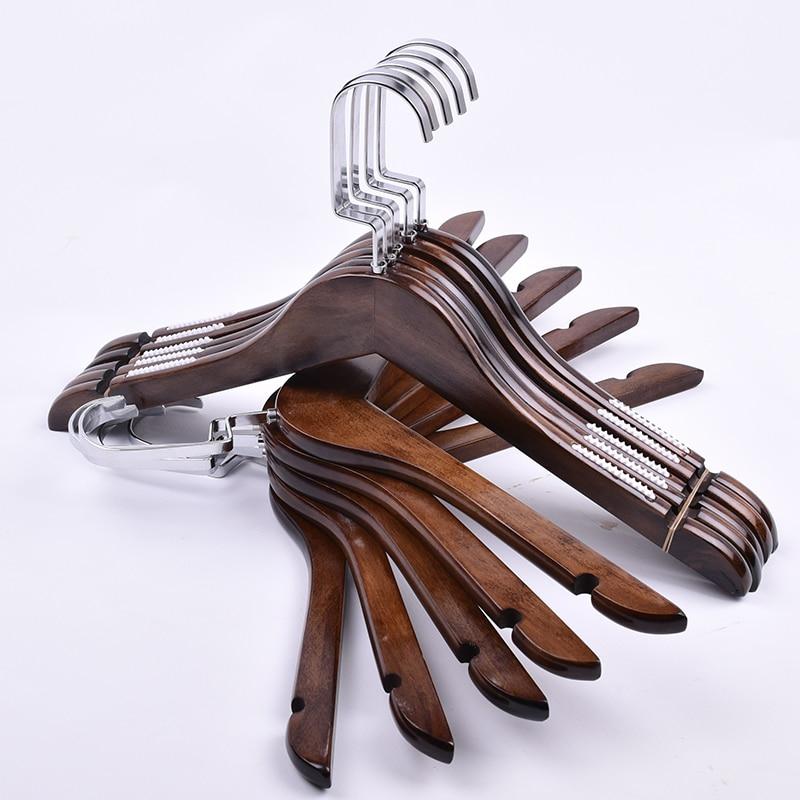 10ks / lot (30ks LOGO zdarma) Dospělý dřevěný věšák na oblečení dětské dřevěné ramínko na šaty vitage styl kalhotový stojan