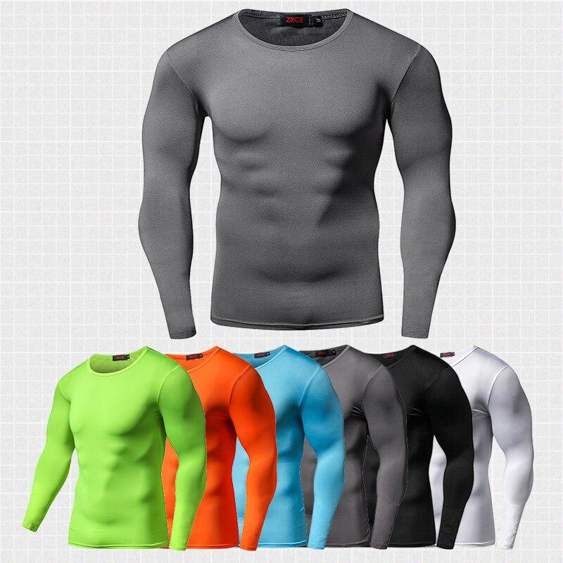 Homens compressão correndo t-shirts mangas compridas secagem rápida t camisa roupas de fitness cor sólida esportes treino bodybuild crossfit