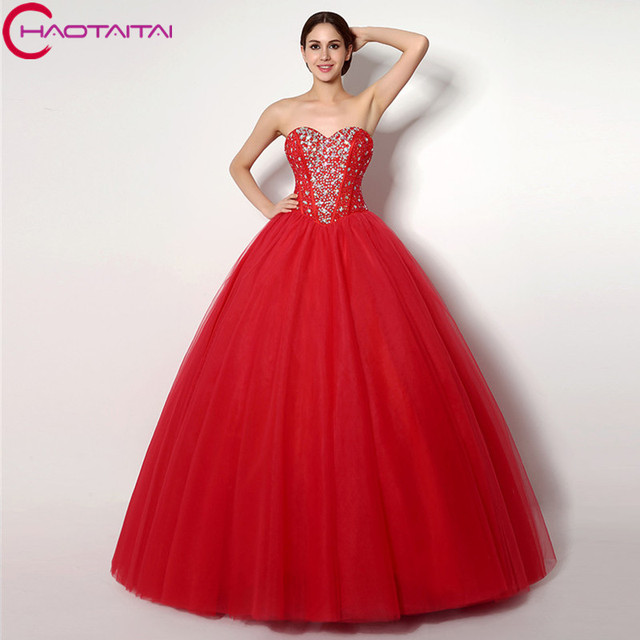 6051d5b9c86 In Stocks Ball Gown Floor Length Off the Shoulder Sweetheart Sequins  Crystal Beaded Quinceanera Dresses Lace-up Back Tulle