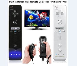 Image 2 - 2 in 1 Wireless Remote Controller Built in Motion Plus +Nunchuck +Silicone Case Gamepad Joystick Video Game Set for Nintendo Wii