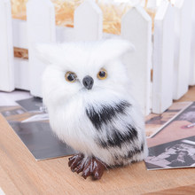 Kiwarm Cute Lovely Owl White Black Furry Christmas Bird Ornament Decoration Adornment Simulation 5*4.5*7cm for Home Decor Gift(China)