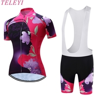 TELEYI 100 Polyester Women Spring Cycling Jersey Ropa Ciclismo Beautiful Breathable Short Sleeve Bike Clothing Set