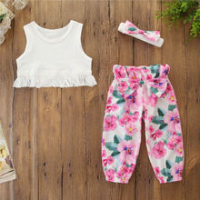 Infant Baby Girls Kids Straps Ruffle Tops T Shirt+Pants+Headband Outfits Set girls summer outfits clothes for 2019