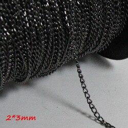 الأحمر النحاس مجوهرات معدنية 9 ألوان 2*3 ملليمتر واسعة التشفير كبح سلاسل معدنية الأزياء قلادة الروابط 100 متر/ترول التعبئة