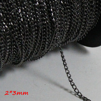 Red Copper Metal 9 Colors 2*3mm Wide Jewelry Metal Encryption Curb Chains Fashion Necklace Links 100 Meters/Troll Packing