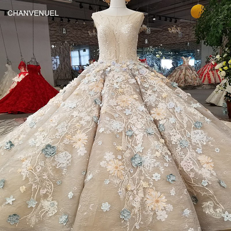 LS65499-1 color 3d flowers   evening     dress   o-neck sleeveless lace up ball gown   evening     dress   with long train 100% real as photos