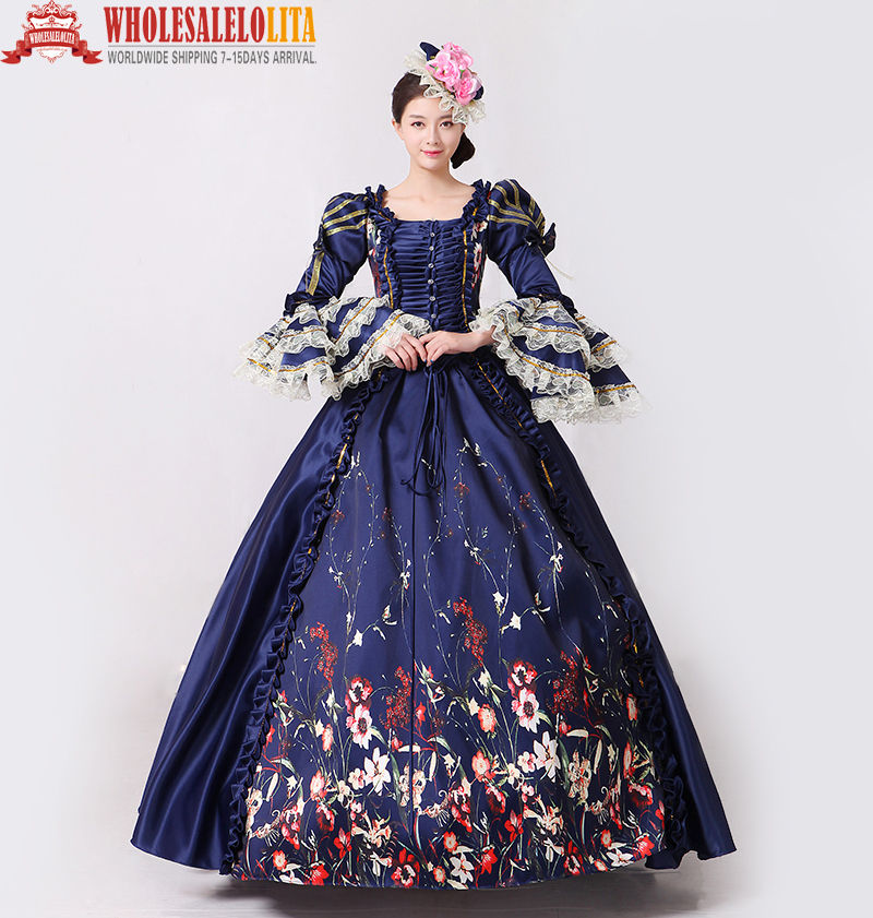 ae34c32d99e3 Brand New Vintage Dark Blue Lace Printed Marie Antoinette Dress Civil War  Southern Belle Gown Women
