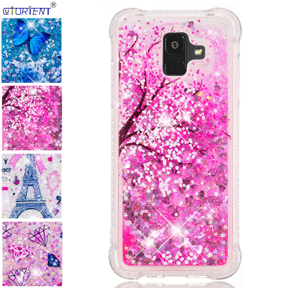 Flight Tracker Bling Glitter Case For Samsung Galaxy A6 2018 Liquid Quicksand Phone Cases Sm-a600fn/ds Sm-a600fn Bumper Cover Silicone Funda Numerous In Variety Half-wrapped Case