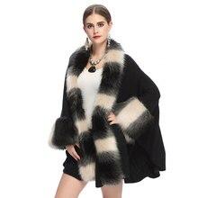 Shawl coat new 2016 autumn and winter women 's fur coat imitation fox fur collar knit cardigan shawl cloak pc1040
