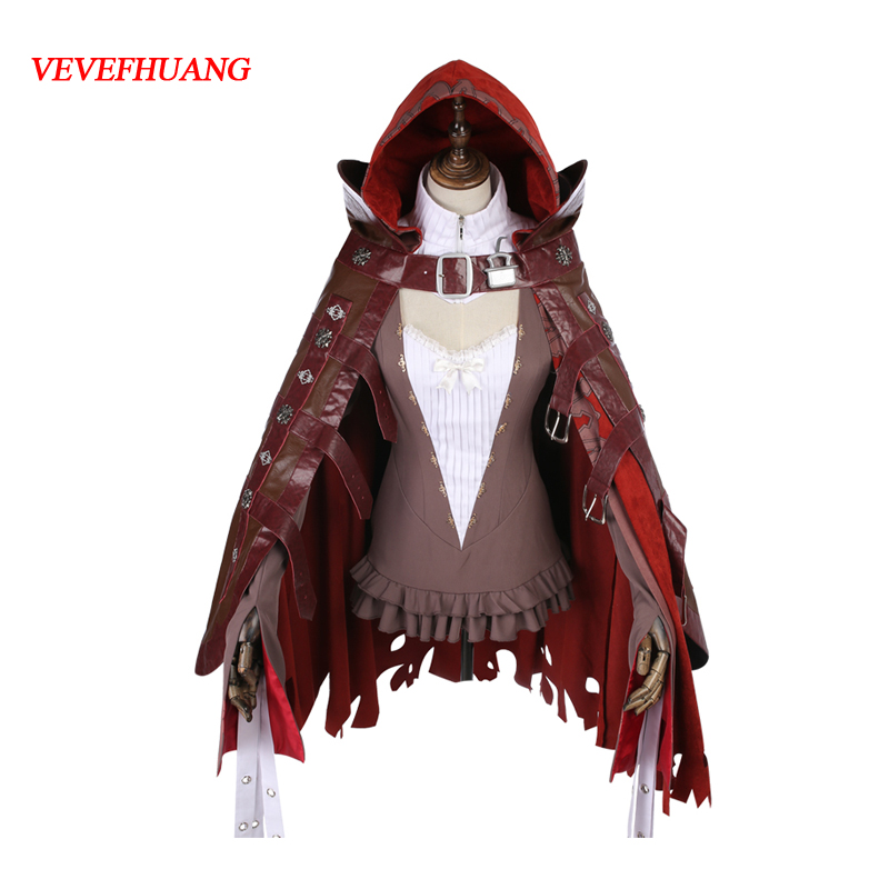 SINoALICE Little Red Riding Hood Punk Gothic Dress Cosplay Costume Free Shipping