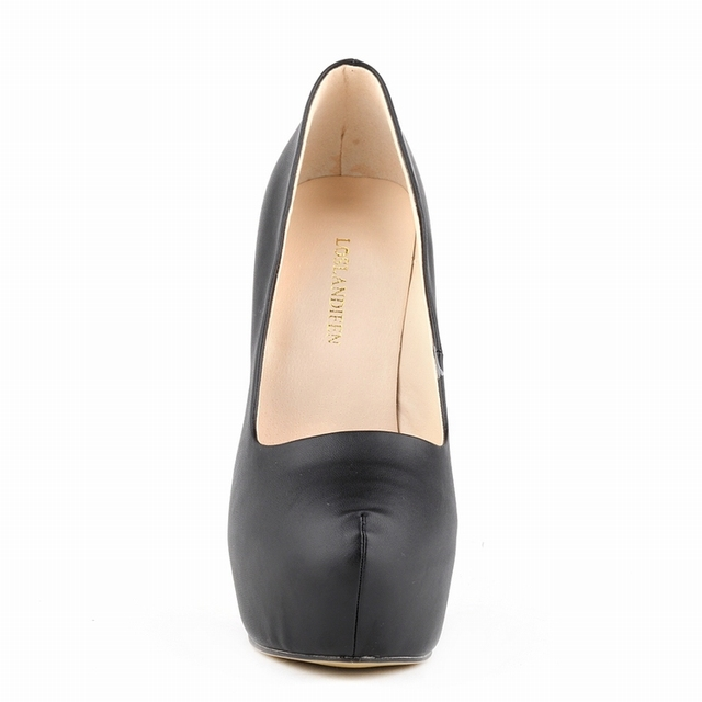 LOSLANDIFEN Platform Pumps Women Ultra Thin Heels Fashion Matt Bridal Shoes Ladies Sexy Extremely High Heels Shoes Black 817-1MA