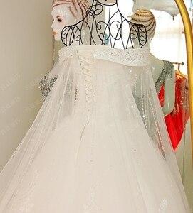 Image 4 - 2019 luksusowy kryształ dubaj Kaftan suknie ślubne Sexy V neck szata de mariage arabski muzułmańskie suknie ślubne z długim rękawem