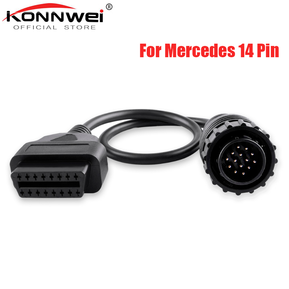 High Quality For Mercedes FOR BENZ Sprinter 14pin To 16Pin Car Diagnostic Cable 14 Pin To OBDII OBD2 OBD II ODB 2 16 Pin Adapter