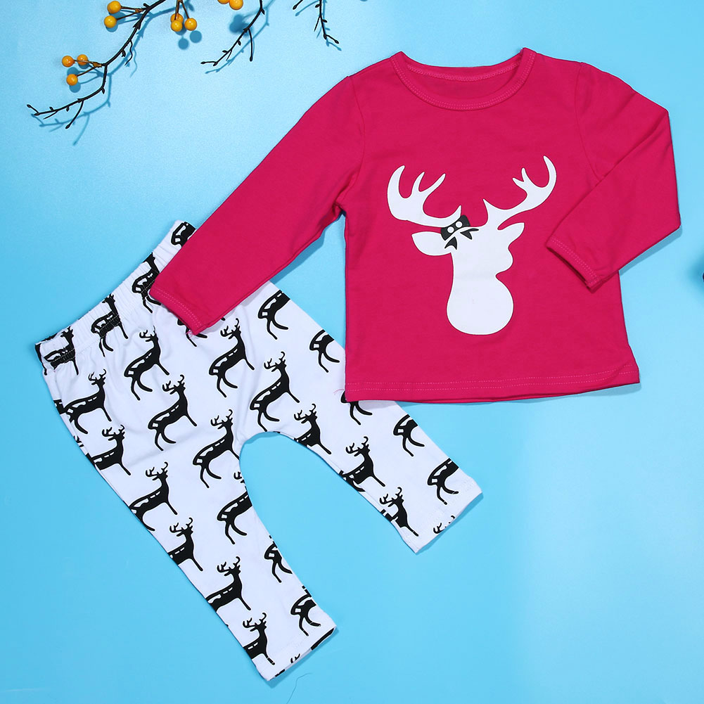 Toddler Baby Kids Girls Clothes Christmas New year Long Sleeve Deer Print T-shirt+Long Pants Baby Outfits Pajamas Homewear Set