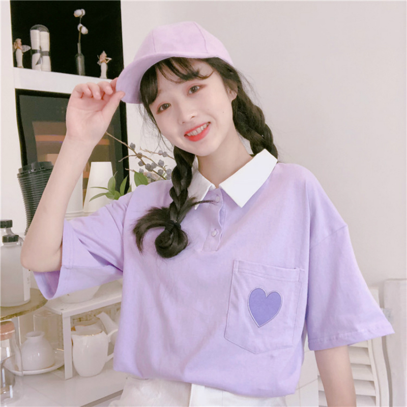 Preppy Style Cute Love Embroidery Women T Shirt Turn-Down Collar Spell Color Student Tops Half Sleeve Casual Loose T Shirt(China)