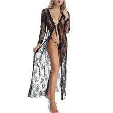 купить Lingerie for Women Sexy Long Lace Dress Sheer Gown See Through Kimono Robe Set Sleepwear with Belt and G-String Bikini Cover up онлайн