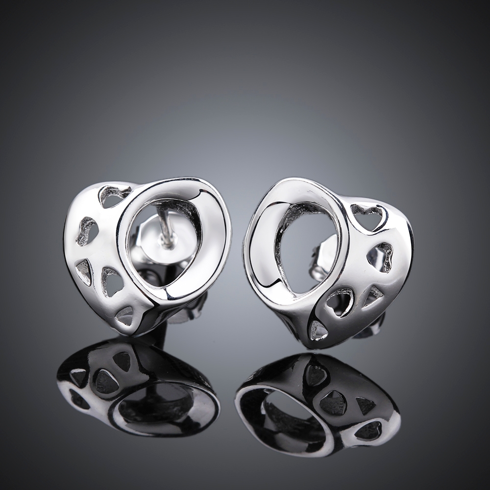 Unique Round Stud earrings 925 sterling solid silver e585 gift box Free Fashion 2015 New Jewelry accessary