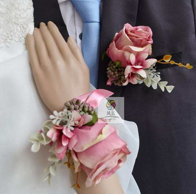 Online shop baby pink artificial rose wedding best man groom baby pink artificial rose wedding best man groom boutonniere bridal girl wrist hand corsage flower diy party prom pin brooch mightylinksfo