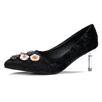 B2 0 Size 33 43 Female Velvet High Heels Shoes Women Shallow Slip on Pumps Lady Career Parties Dress Shoes Woman Bling Shoes
