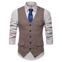 Gnibiel Men's Vest Giletmen Herringbone Pattern Waistcoat Business Tweed Slim Fit Brown Tuxedo Gilet Suit Vest Men Plaid Clothes