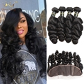 8A Mink Peruvian Virgin Hair With Closure Peruvian Loose Wave With Closure Ear To Ear Lace Frontal Closure With Bundles