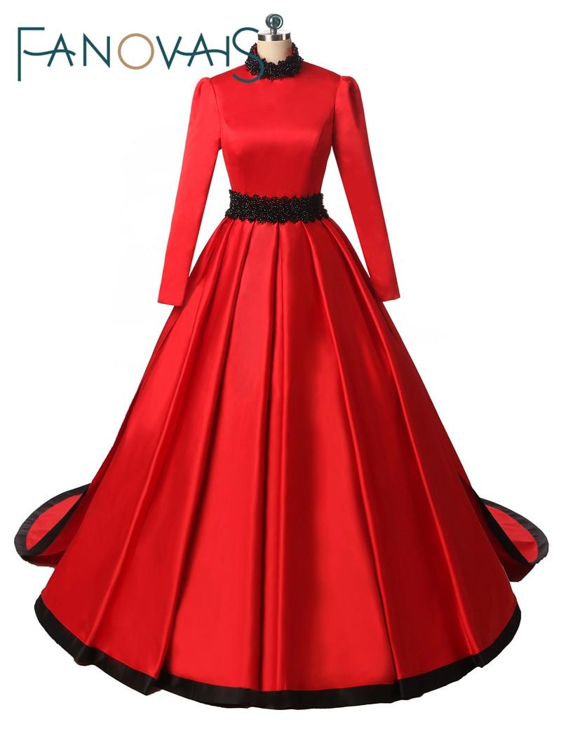 Muslimska röda brudklänningar Eleganta Robe de Mariage 2017 Vestido de novia Dubai Vintage Bröllopsklänning Verkliga bilder
