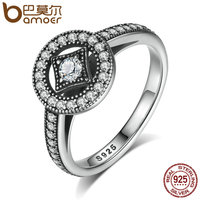 BAMOER Classic 100 925 Sterling Silver Vintage Allure Clear CZ Finger Ring Women Luxury Fashion Jewelry
