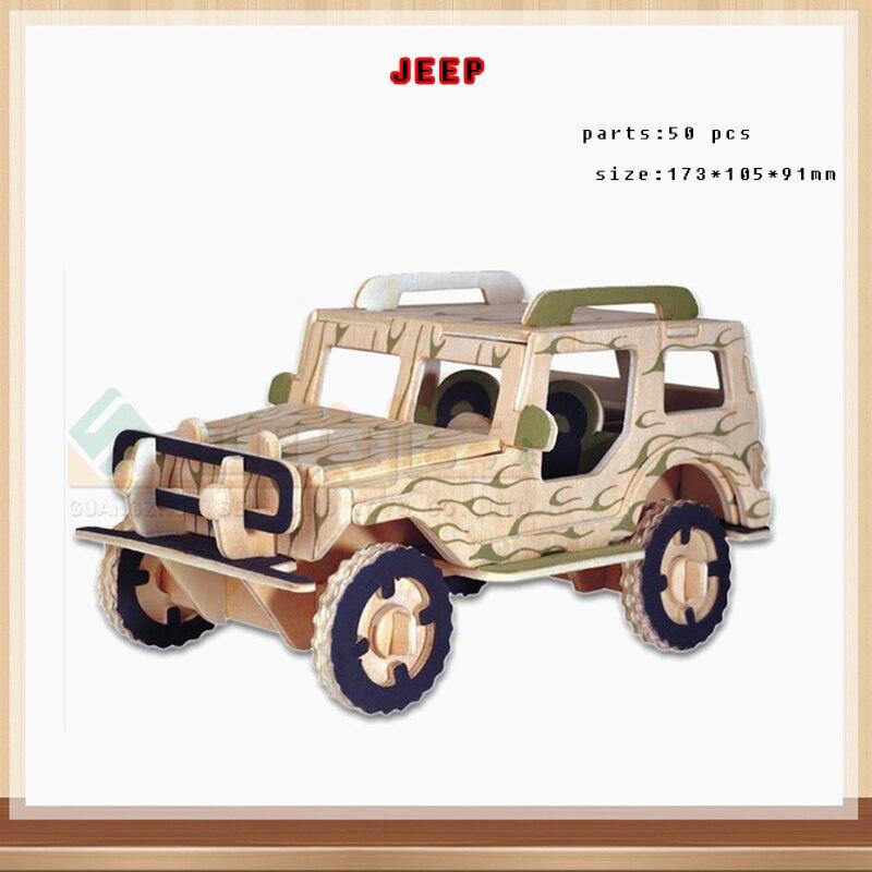 Ребенок 3d деревянные джип Пазл деревянный автомобиль пазл игрушки детям IQ Развивающие деревянные игрушки для мастеров ручной работы Пазлы ...