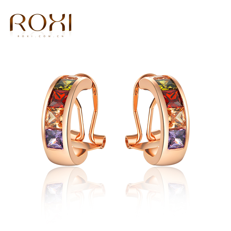 ROXI High quality Fashion Rose Gold Zircon Female/Male Rainbow Stud Earrings , Graduation Gift,trendy style girls earrings