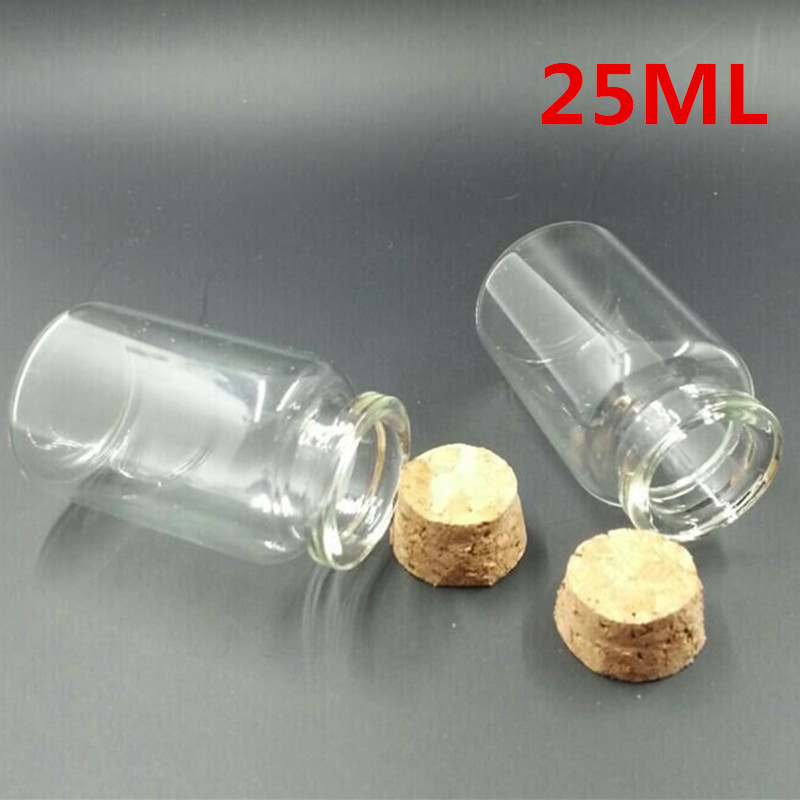 30*60*17mm 25ml Glass Bottles With Cork 50pcs/lot For Wedding Holiday Decoration Christmas Gifts Free Shipping