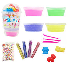 DIY Slime Kit Supplies Clear Crystal Slime Making Kit Slime Foam Beads Glitter(China)