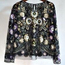 Цветочная расшитая блестками блузка; весенние топы с круглым вырезом и длинными рукавами; короткая кружевная блузка