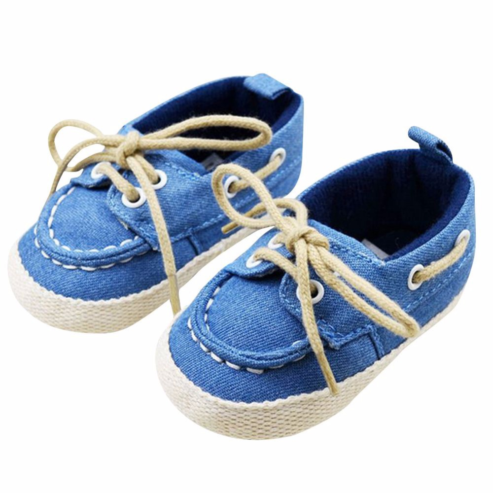 Baby Boy Girl Blue Sneakers Soft Bottom Crib Shoes Size Newborn to 18 Months