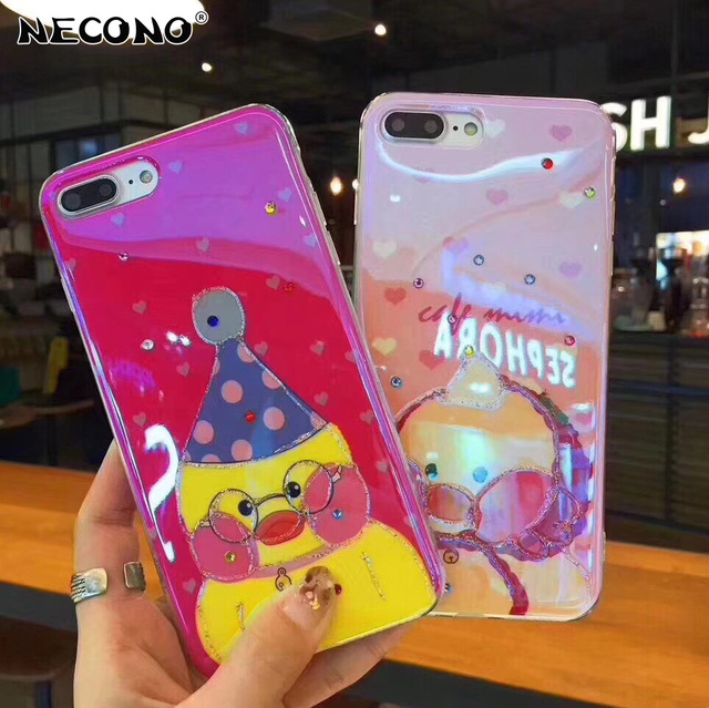 low priced 752b6 0bc4b US $2.95 26% OFF|Phone Case For iPhone XR XS MAX Cute Blue Light Yellow  Duck Glitter Bling Back Cover Blue Ray Case For iPhone 7 6 6s 8 Plus-in  Fitted ...