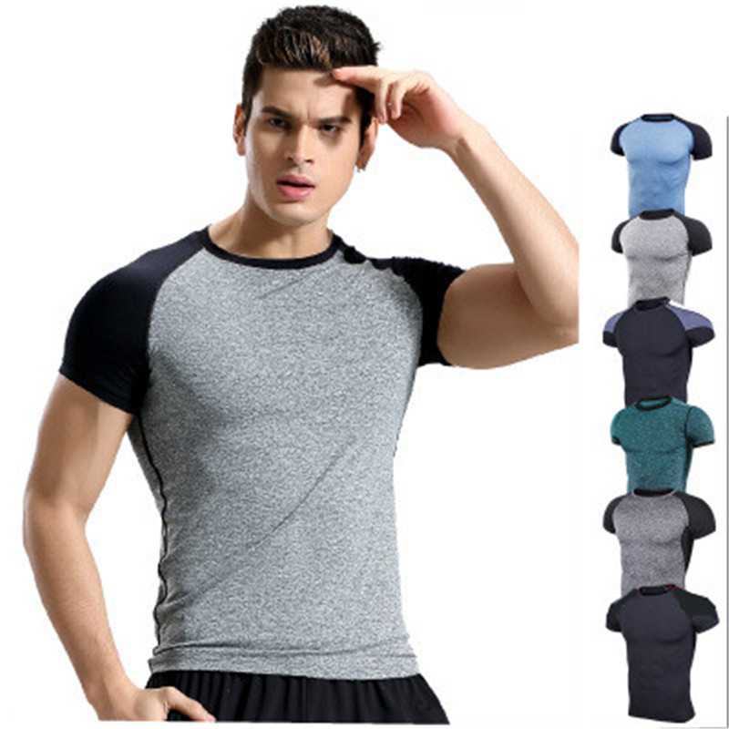 2018 Men s Sportswear Running T Shirt Polyester Sport Tights Man Short Sleeves Shirts Quickly Dry
