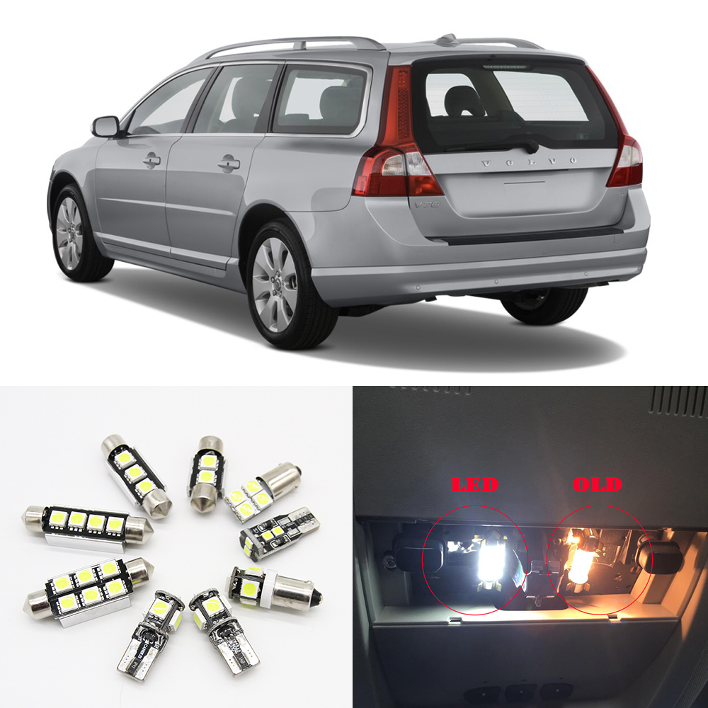 11pc White Canbus Auto LED Door Step Courtesy Light For 2008 2009 2010 Volvo V70 Estate Wagon Car Dome Lamp Interior Package Kit