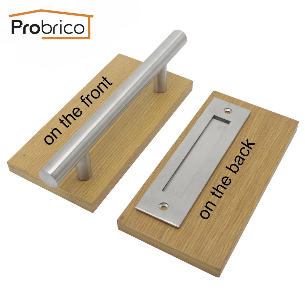 Probrico Recessed Flush Door Pulls Door Handle Set Hollow Stainless Steel Sliding Wood Barn Door Hardware Door Handle  Pulls