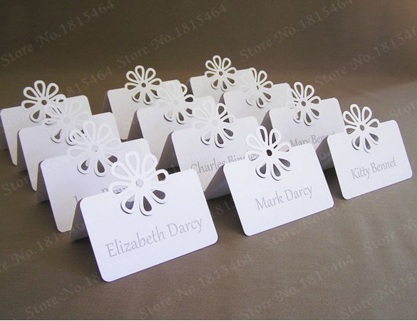 50pcs Flower Name Place Cards Table Cards Laser Cut Hollow Card Invitation Wedding Conference Seat Card Party Decoration