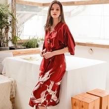 цена на Yhotmeng2019 new ladies long sleeves silk bathrobe robe print robe with belt M-XXL