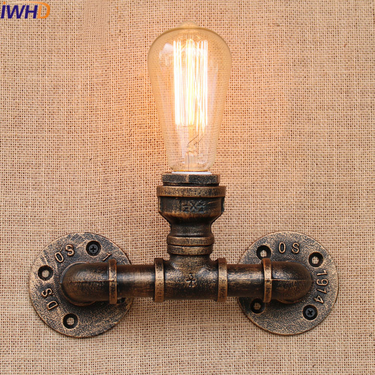 Nordic Vintage Loft American Aisle Water Pipe Wall Lamp Bar Restaurant Iron Industrial Pipes E27 Wall Light Sconces Lighting american rural retro wall lamp nordic industrial loft sconce creative restaurant bar aisle bedside lamp outdoor wall light e27