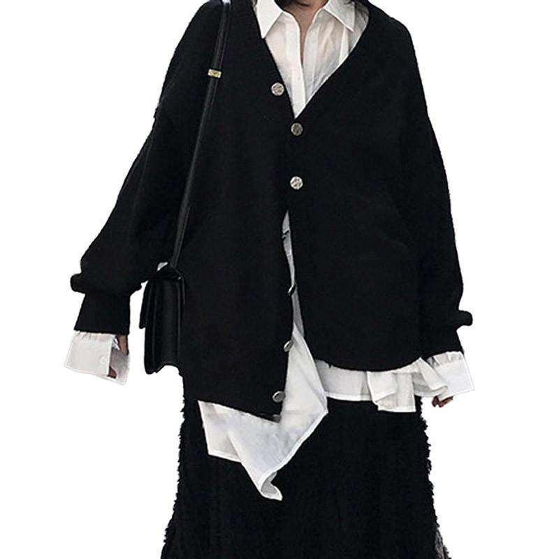 Otoño Con Elegante Nueva Jersey Tops V704 Ropa Primavera De V Mujer Las Mujeres Punto 2019 Cuello En Larga Chaquetas Casual Manga XwYqnAI
