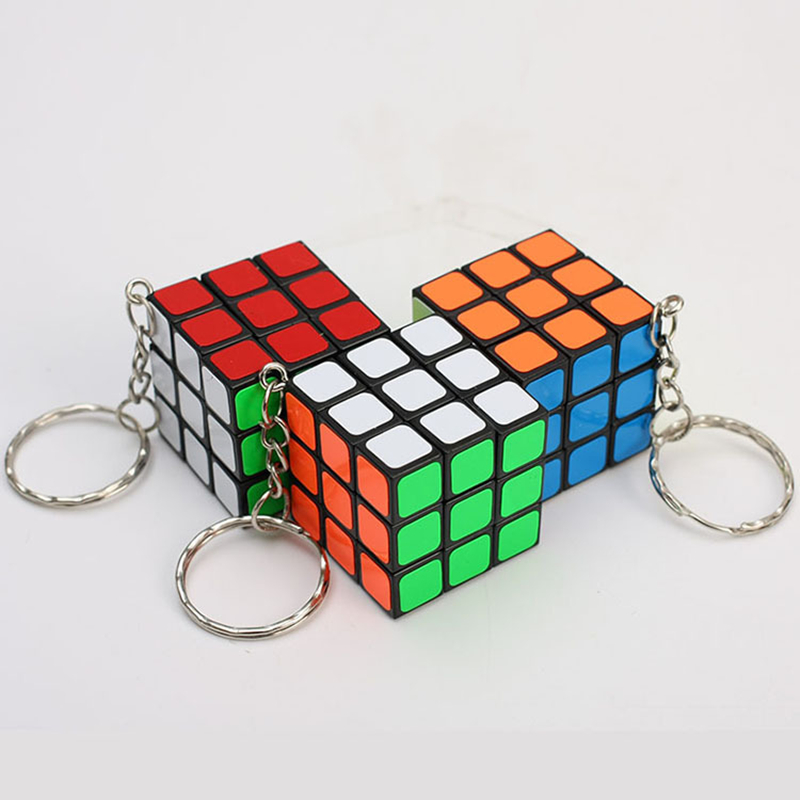 Mini 3x3x3 Magic Cube Keychain Pendant Speed Twist Puzzle Games Educational Learning Toys For Kids 3CM