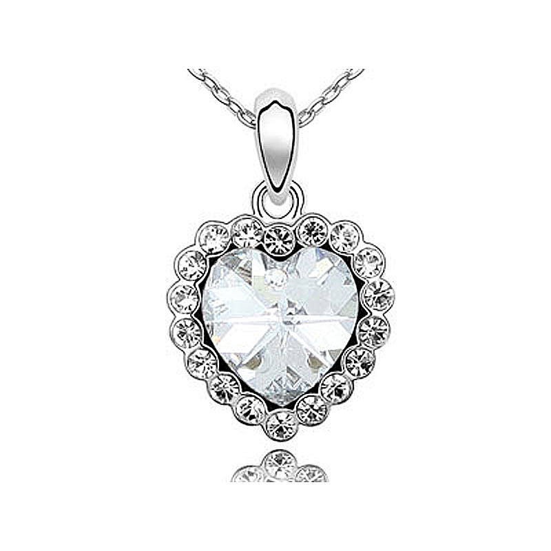 Peacock Star 3 Carat Clear White, Blue, Purple, Pink Heart Austrian Crystals Necklace CSN327