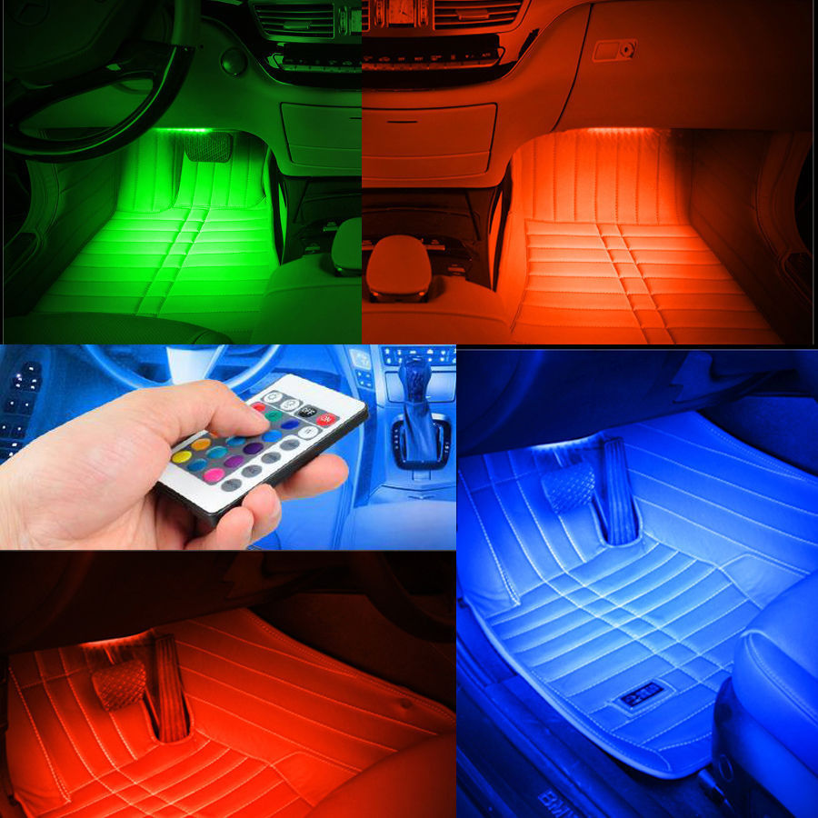 Package Includes 4 X Car Led Strip Lights 1 Remote Control Charger