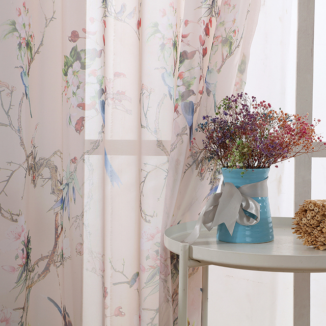 Rustic Kitchen Sheer Curtains For Living Room Decoration Bird Printed Window Chiffon Tulle