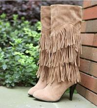 New Spring Models Female High-heeled Boots Women Fringed Boots High-top boots sexy legs Botas Femininas Size 34~43