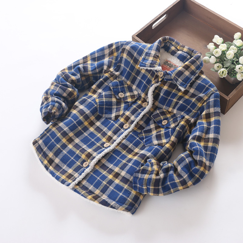 W-41, camisas a cuadros para niños, abrigo de tela escocesa de sarga de algodón 100%, botón de coco