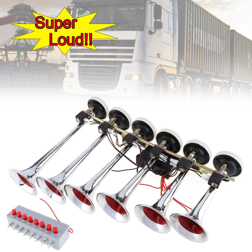 Klaxon d'air de voiture 12/24 V 200DB Super fort 8 sons Style alarme 6 trompette Air klaxon compresseur Kit pour moto bateau camion voiture